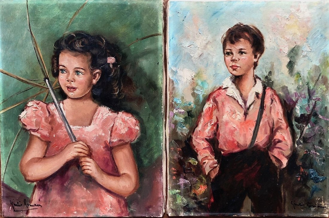 JULIO ROMANI (20th c, Italy) Portraits Of Children