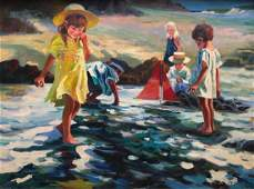 Large Painting Of Children Playing On The Beach, Signed