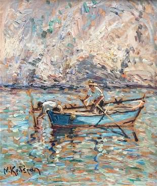 NIKOS KRIDERAS (b. 1933, Greece) Fisherman At Sea