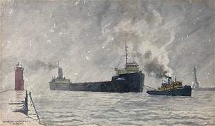 EDWARD J DOWLING ( 1907-1996, Detroit) WWII Freighter