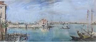 BRUNO MARTINI (1911-1979, Italy) Venetian Harbor