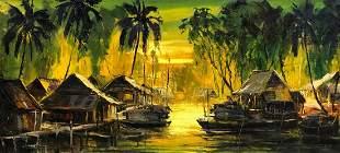 Impressionist Southeast Asian Harbor Scene, Signed