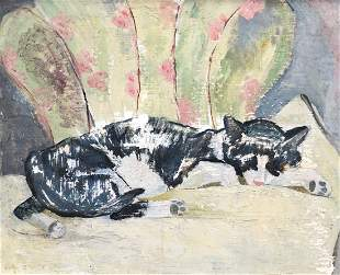 20th Century Painting Of A Sleeping Cat, Signed