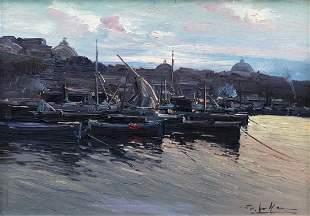 Impressionist Naples Harbor Scene, Illegible SIgnature