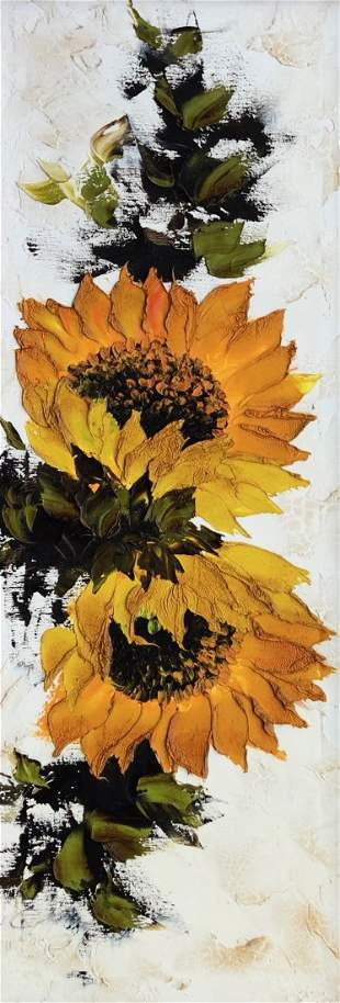 Mid-Century Painting Of Sunflowers Illegible Signature