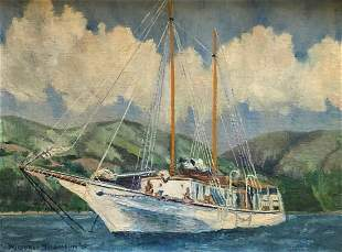 RUSSELL THOMSON (20th c, American) Yacht 1951