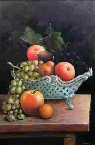 Still Life Of A Fruit Basket, Signed Simone