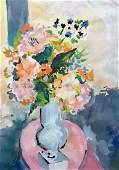 Modernist Still Life Of Flowers Illegible Signature