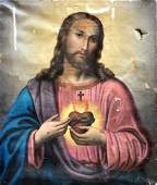 Early 19th c Portrait Of Jesus Christ, The Sacred Heart
