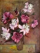 Modernist Still Life Of Flowers Signed Hebard
