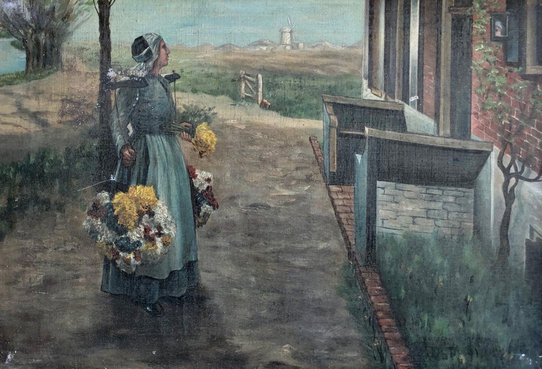 Dutch Genre Scene Of A Woman With Flowers