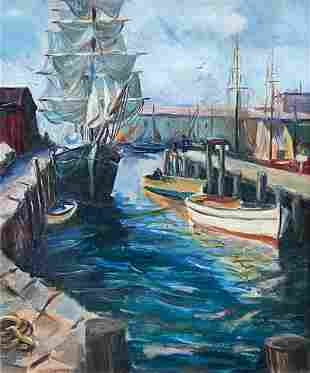 GLADYS HERSKER (20th c, American) Boats In Harbor