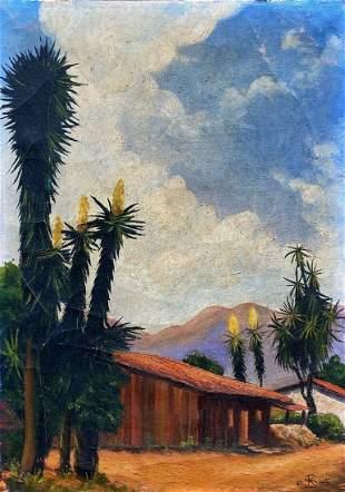 Impressionist Southwestern Landscape, Monogrammed 1945