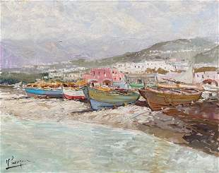 Impressionist Painting Of Boats, Illegible Signatue