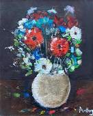 Modernist Still Life Of Flowers Signed Anthony