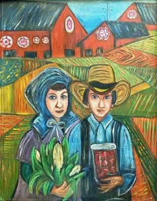 "Pennsylanvia Folk Art ""Farmers"", Signed"