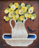 Large American Folk Art Painting Of Flowers, Signed