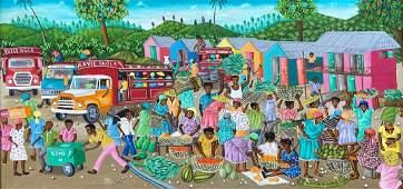 Large Haitian Market Scene, Signed Oil On Canvas