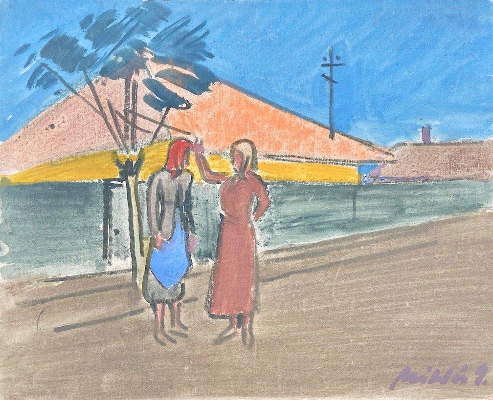 Hungarian Modernist Street Scene, Signed Verso