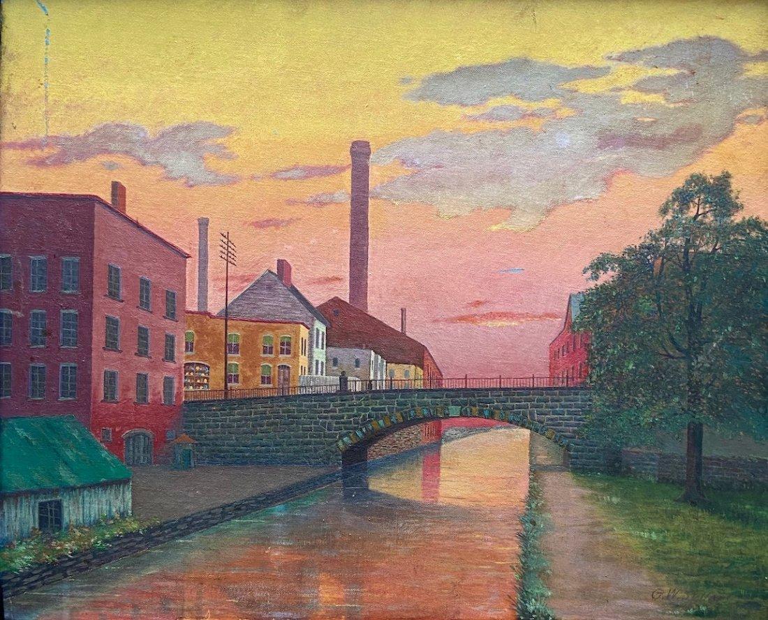 WPA Era Industrial American Town Scene, Signed