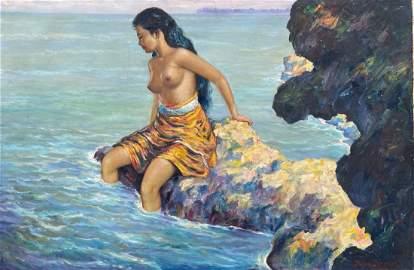 SUMADRI (1917-1983, Indonesia) Nude On Rocks