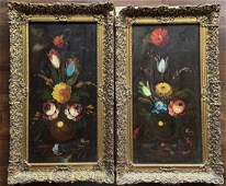 Pair Of Antique Floral Paintings, Signed