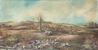Large Antique English Landscape Hunt Scene, Unsigned