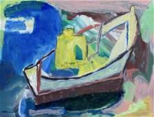 Modernist Harbor Scene Of A Boat, Signed