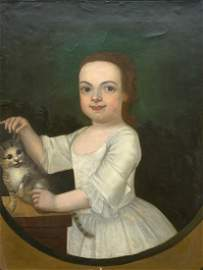 18th Century American Portrait Of A Young Girl With Cat
