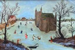 JOHN LOEPER (20th c, PA) Ice Skating By Castle