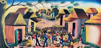 Large Haitian Village Painting Signed Andre