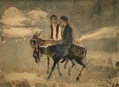 Chinese Modernist Men Riding Donkeys, Signed