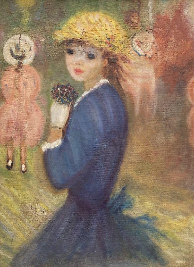 French Modernist Flower Girl, Unknown Artist