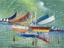 Haitian Modernist Harbor Scene Of Boats, Signed