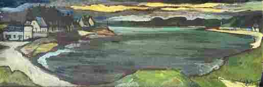 Modernist European Lake Landscape, Signed