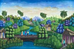 Large Naive Haitian Landscape Signed Frantz