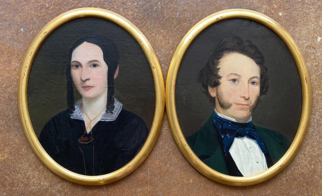 Pair Of 19th Century American Primitive Portraits
