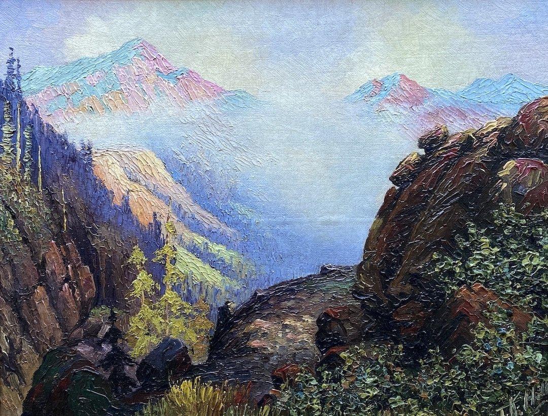 American Rocky Mountain Western Landscape, Signed