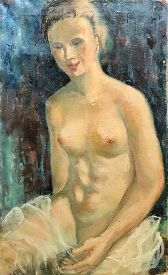 Modernist Nude Portrait, Unsigned