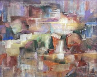 Mid-Century Cubist Abstract, Signed, Dated 1958
