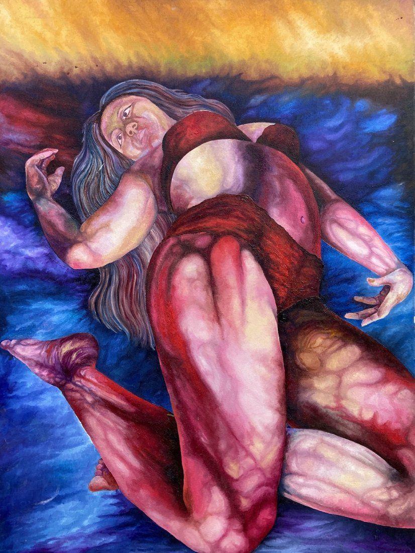 Dark American Modernism Painting, Reclining Woman