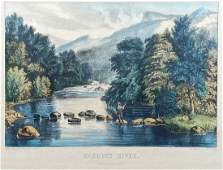 Racquet River Adirondacks Currier  Ives Lithograph