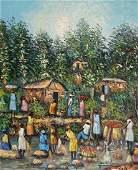 HAROLD LEGER (20th c, Haiti) Village Scene