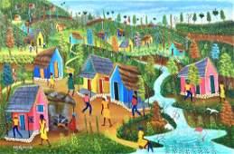 ANDRE NAZAIRE (20th c, Haiti) Village Scene