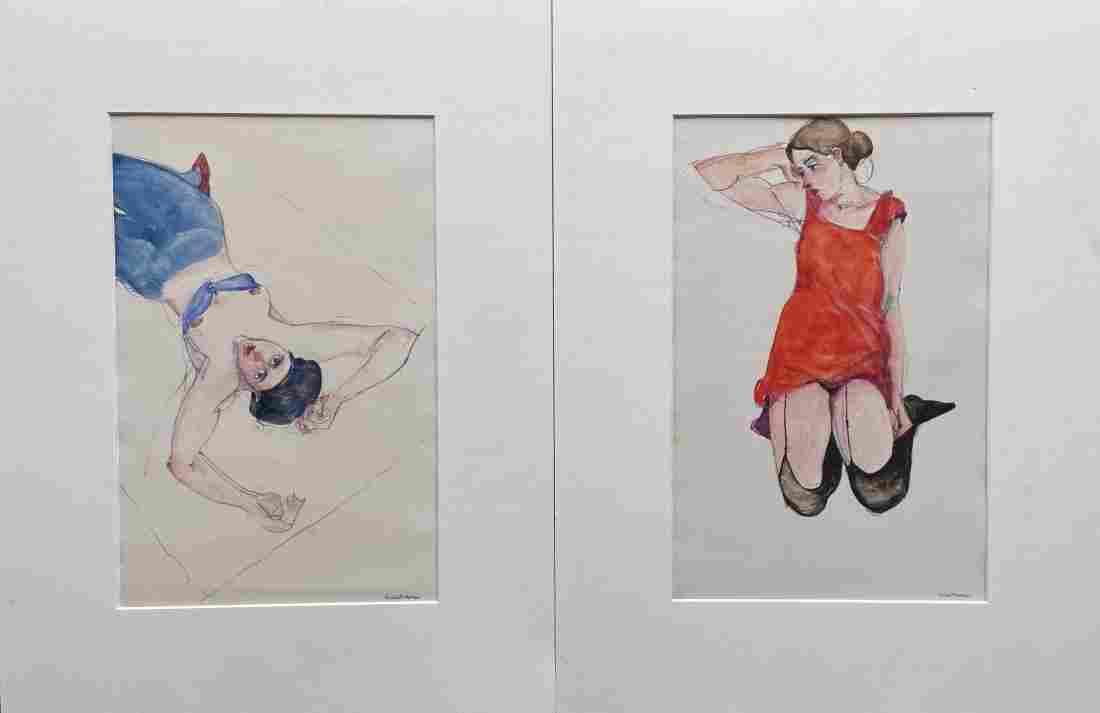 RICHARD THOMAS (20th c, American) Modernist Portraits