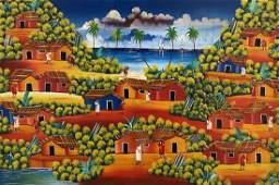 Large Haitian Naive Village Painting