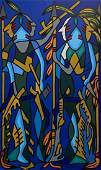 Large Haitian Modernist Soldiers Signed Wilton