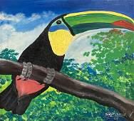 Haitian Toucan Bird Painting Signed Stephanie