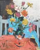 Modernist Still Life Of Flowers Signed