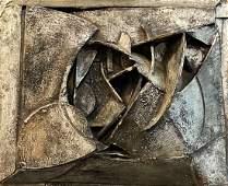 Brutalist Mixed Media Wall Sculpture, Signed